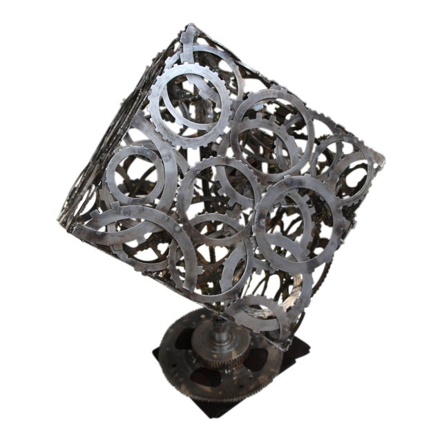 Great Abstract Artist Made Rotating Gear Cube Sculpture For Sale