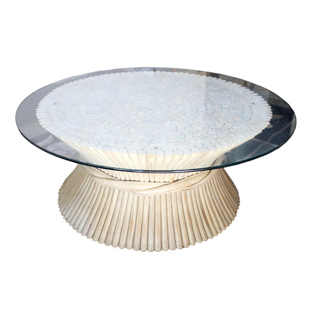 1980s Vintage McGuire Rattan Coffee Table With Glass Top For Sale - Image 5 of 5
