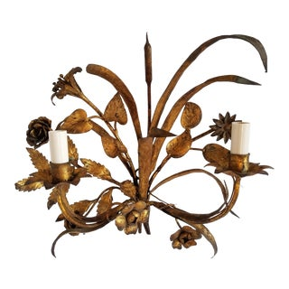 Hollywood Regency Gilt Tole Italian Sconce For Sale