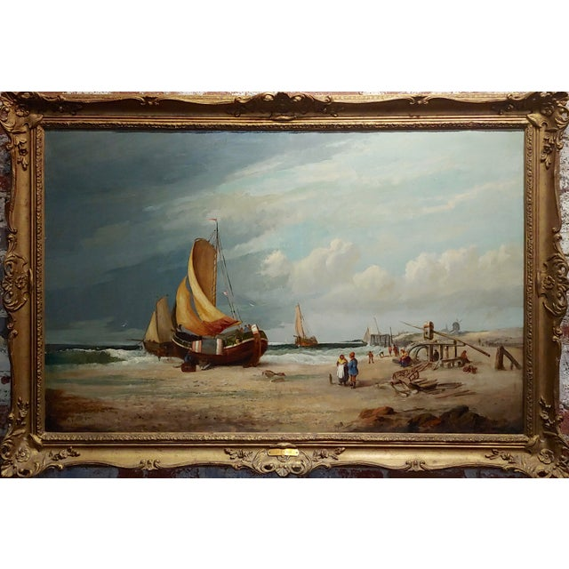 19th century Fishing Boats - 1878 Large Oil painting by C.H. Cook oil painting on canvas -Signed and dated frame size 51 x...