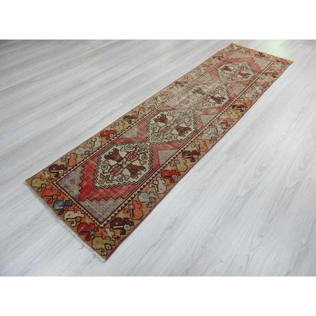 "Vintage Turkish Distressed Runner Rug - 2'5"" x 8'8"" - Image 5 of 6"