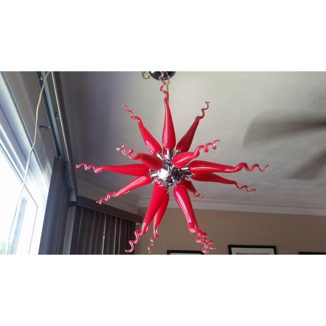 Beautiful Red Modern Blown Glass Chandelier - Image 3 of 7