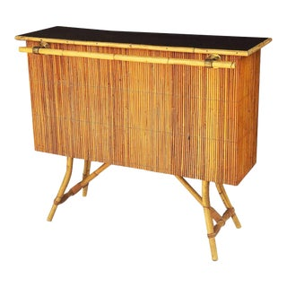 French Bamboo Bar for Serving with Black Lacquered Top (Louis Sognot) For Sale
