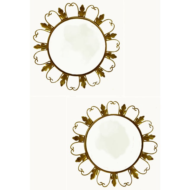 """Pair of Convex mirrors from Belgium. Stamped in the back. Size of the convex mirror inside: 12"""" diameter. From an hotel in..."""