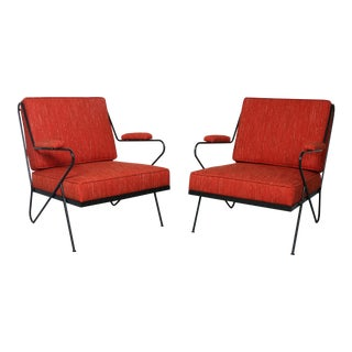 Wrought Iron Pair of Orange Lounge Chairs