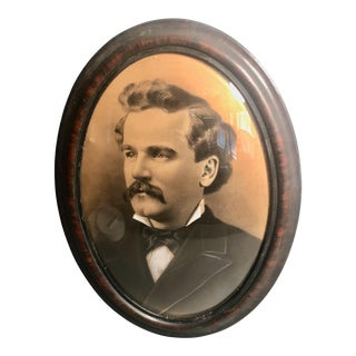 Early 20th Century Portrait Photograph in Convex Bubble Glass Frame For Sale