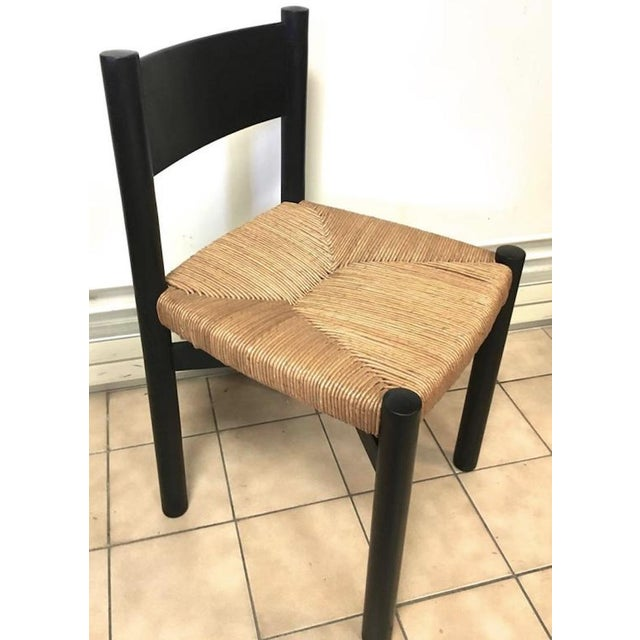 """1950s Charlotte Perriand Set of Four Black Model """"Meribel"""" Rush Chairs For Sale - Image 5 of 7"""
