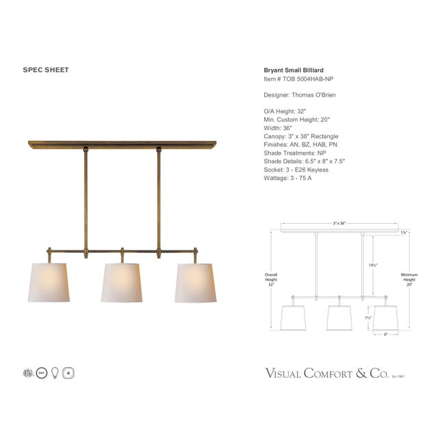 Visual Comfort Thomas O'Brien Bryant Linear Suspension Brass Chandelier For Sale - Image 9 of 11