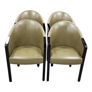 Poltrona Frau Dark Green Leather Arm Chairs - Set of 4 For Sale