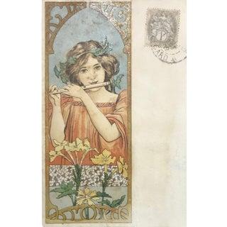 Original Art Nouveau Mucha-Style Postcard, Framed For Sale