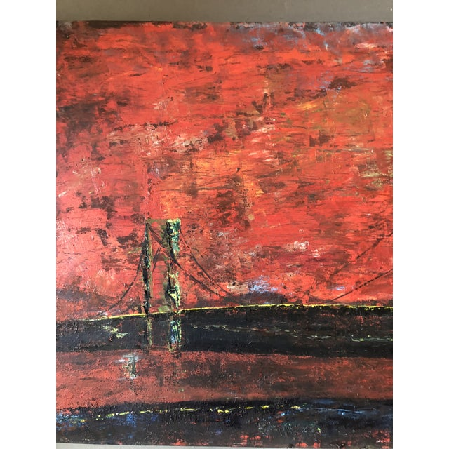 Large Vintage Abstract Bridge Painting Mid Century Signed For Sale - Image 4 of 7