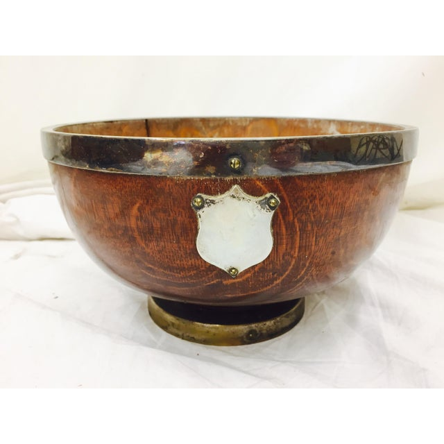 Antique English Oak Mont. Bowl - Image 2 of 8