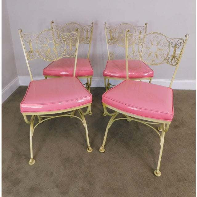Mid-Century Modern Vintage Set of 4 Woodard Andalusian Wrought Iron Scroll Back Chairs For Sale - Image 3 of 12