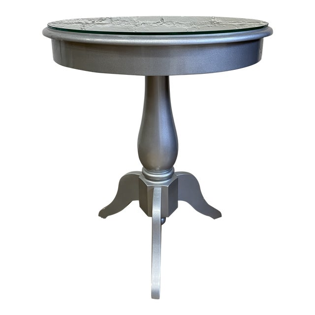 Nordstroms Silver Finish Pedestal Side Table + Glass Top For Sale