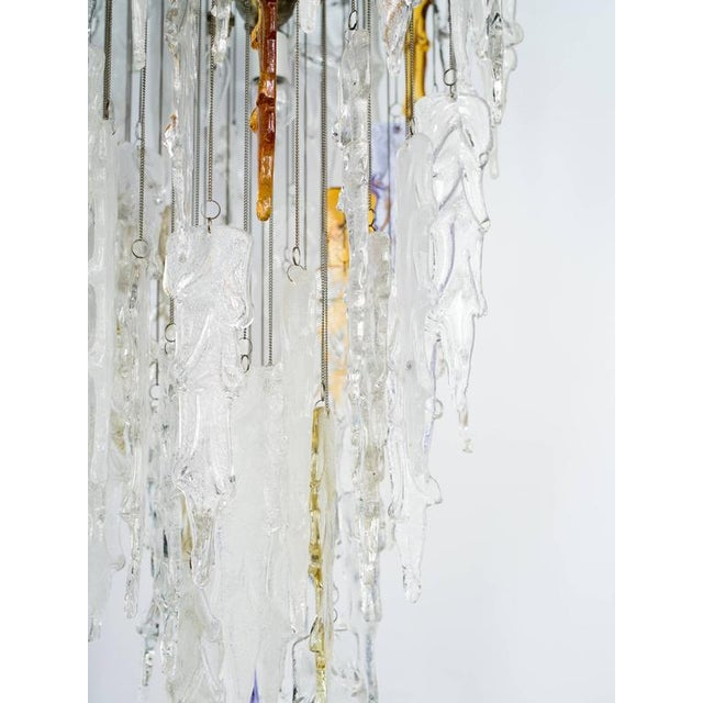 Chrome Outstanding Mid Century Modern Murano Icicle Chandelier by Mazzega For Sale - Image 7 of 11