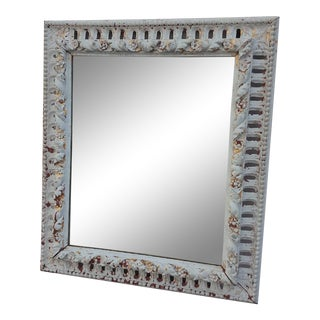 Early 20th Century Distressed Wooden Wall Mirror For Sale
