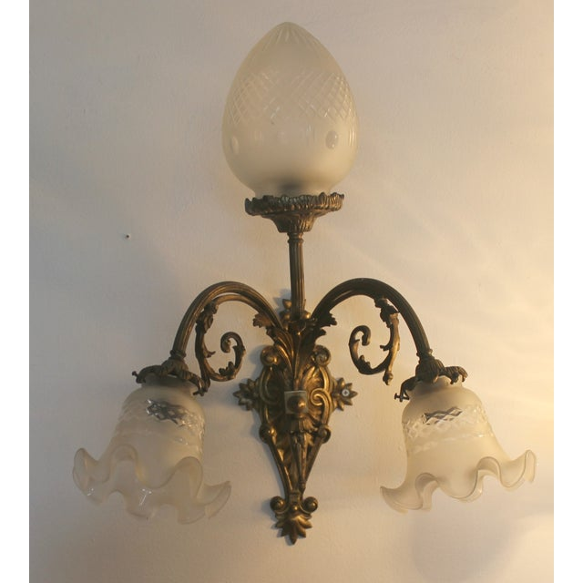 Victorian Brass & Cut Glass Wall Sconces - Pair - Image 4 of 6
