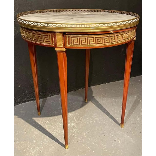 Pair of Marble Top Greek Key Bouillotte or End Tables, Manner of Jansen For Sale In New York - Image 6 of 11