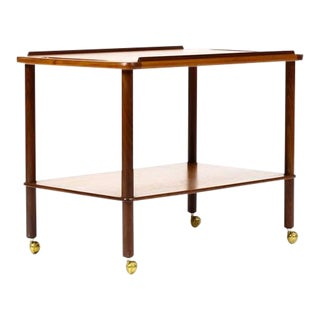 1960s Vintage Danish Modern Teak Bar Cart / Tea Service For Sale