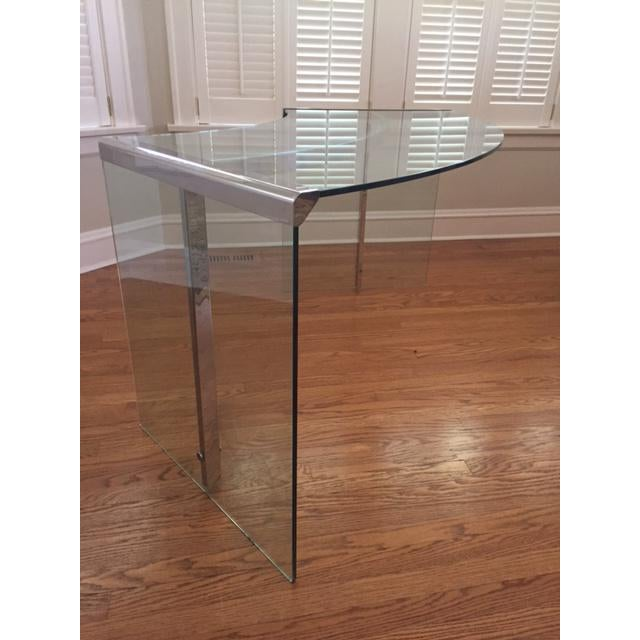 DIA Curved Glass & Chromed Steel Writing Desk - Image 2 of 10