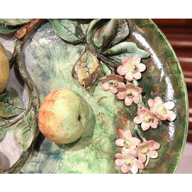 Ceramic Late 19th Century French Barbotine Wall Platter For Sale - Image 7 of 10