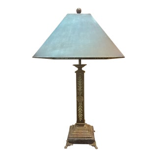 Detailed Distressed Iron Lamp With Tin Lamp Shade For Sale