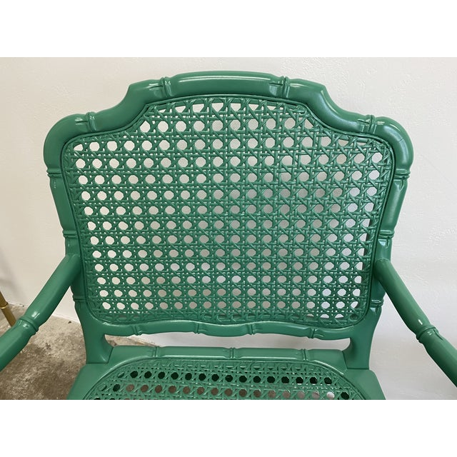 Vintage Green Lacquered Cane Chairs - a Pair For Sale In Houston - Image 6 of 13