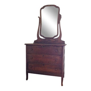 Antique Chest of Drawers With Mirror For Sale