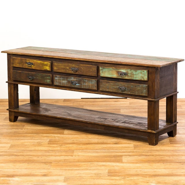 Rustic drawer eco friendly reclaimed solid wood console