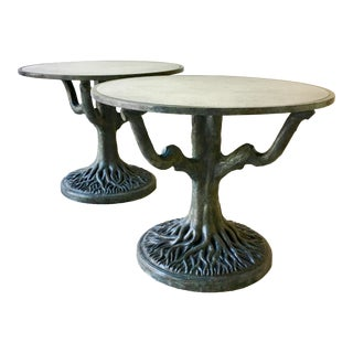 Pair of Bronze Patinated and Antiqued Mirror Centre Tables 1960s For Sale