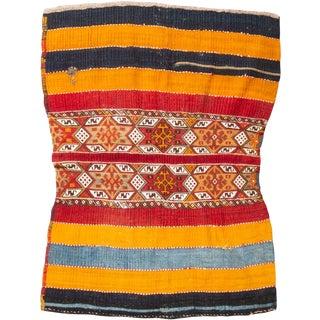 Vintage Mid-Century Striped Geometric Wool Kilim Rug - 4′1″ × 5′5″ For Sale