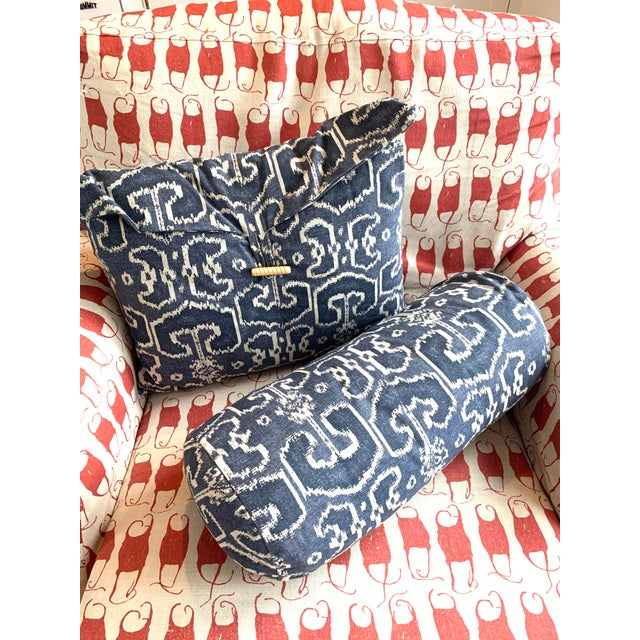 Navy Blue Navy Ikat Throw Pillows- A Pair For Sale - Image 8 of 8