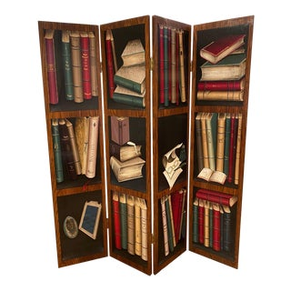 Late 20th Century Solid Wood Library Bookshelf Room Divider With Painted Books For Sale