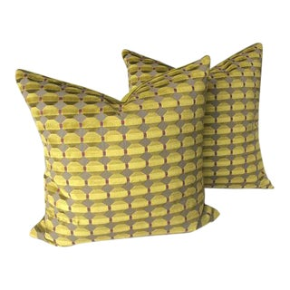 Zoffany Abacus Chartreuse Mosaic Cut Velvet Pillows - a Pair