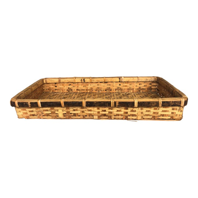 Late 20th Century Large Woven Bamboo Tray Basket For Sale
