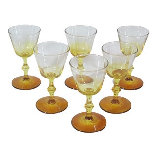 1960s Vintage Stemmed Wine Glasses - Set of 6 For Sale