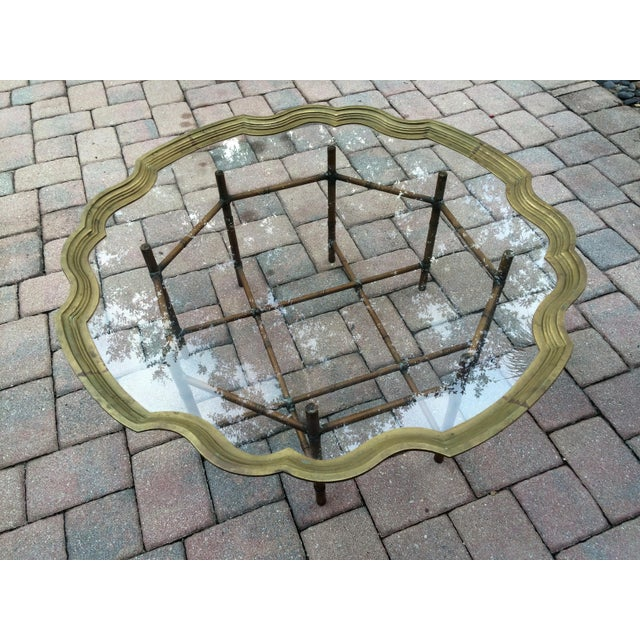 La Barge Scalloped Solid Brass Tray, Faux Bamboo Metal Base Coffee Table - Image 2 of 8