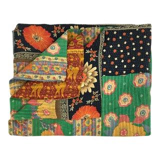 Whimsical Green Floral Vintage Kantha Quilt