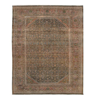 Silver Vintage Malayer Handmade Wool Rug For Sale