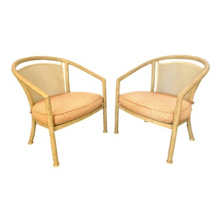 Faux Bamboo Metal Patio Chairs by Meadowcraft For Sale