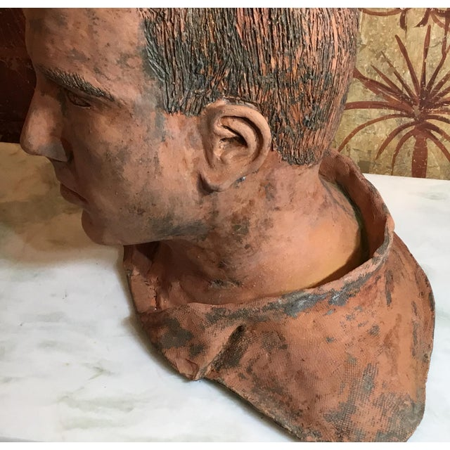1990s Young Man Terra Cotta Bust Signed MD For Sale - Image 5 of 13