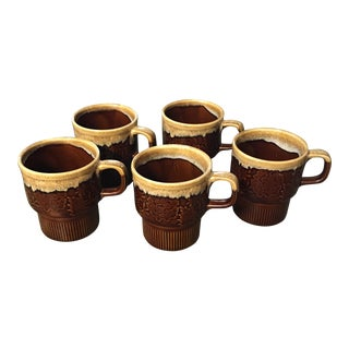 Vintage Brown Drip Glaze Coffee Mugs - Set of 5