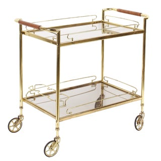 French Brass & Glass Rolling Bar Cart For Sale