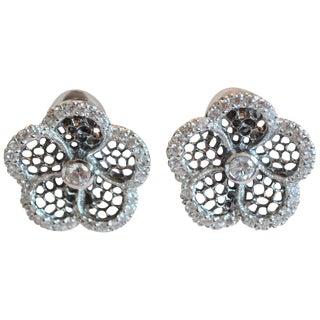 J. Kasi Five Petal Cz and Rhodium Clip Earrings For Sale