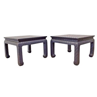 1990s Mid Century Modern Baker Far East Collection Linen Wrapped Side Tables - a Pair For Sale