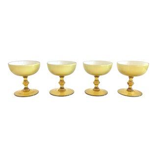 1960s Carlo Moretti Citrine Cased Coupe Glasses - - Set of 4 For Sale