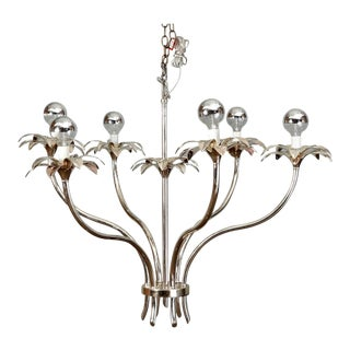 Mid-Century Nickel Floral Stem Form Chandelier For Sale