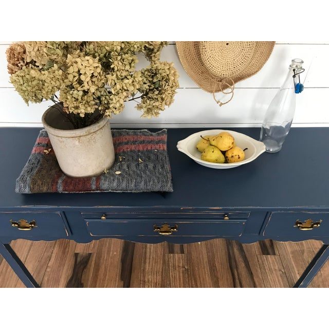 American Modern Farmhouse Navy Desk/Console Table For Sale - Image 3 of 6