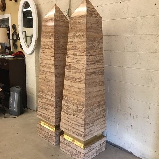 Modern Monumental Faux Travertine Laminate Obelisks - A Pair For Sale - Image 3 of 11