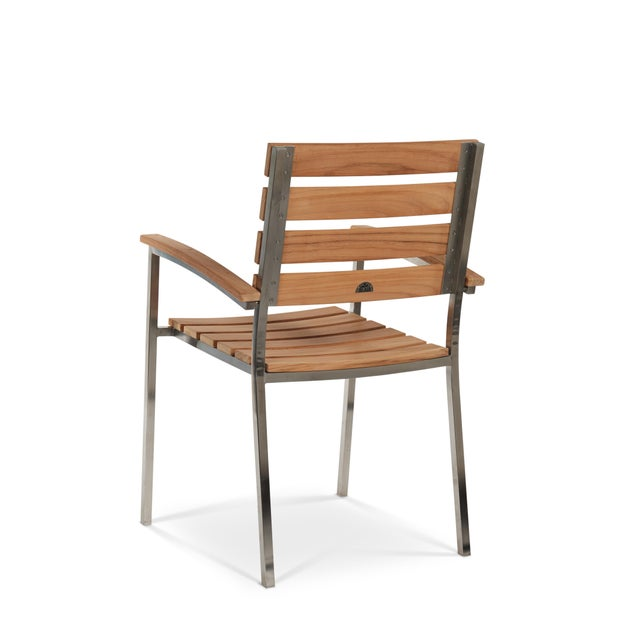Contemporary Al Fresco Teak and Metal Outdoor Dining Armchair (Set of 2) For Sale - Image 3 of 6